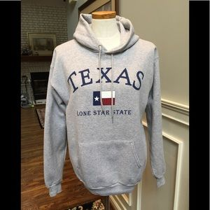 Gray hooded Texas sweatshirt